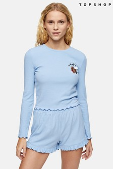 Topshop Pomeranian Ribbed Jersey Pyjama Set