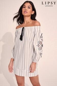 Lipsy Stripe Embroidered Sleeve Bardot Dress