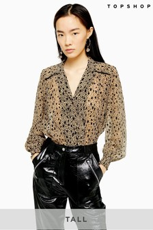 Topshop Tall Flocked Animal Print Shirt