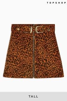 Topshop Tall Leopard Print Corduroy Buckle Skirt