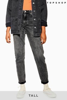 Topshop Tall Washed Mom Jeans