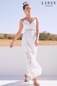 Lipsy Pom Pom Lace Maxi Dress