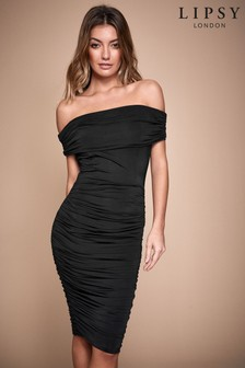 Lipsy Slinky Ruched Bardot Dress