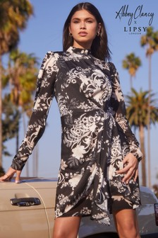 Abbey Clancy x Lipsy Printed High Neck Drape Dress