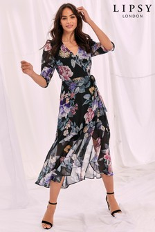 Lipsy Printed Wrap Midi Dress