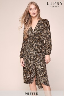 Lipsy Petite Animal Print Wrap Midi Dress