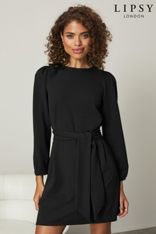 Lipsy Puff Sleeve Tie Waist Shift Dress