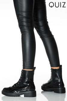 Quiz Black Croc Lace Up Boots