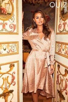 Quiz Satin Leopard Print Midi Dress