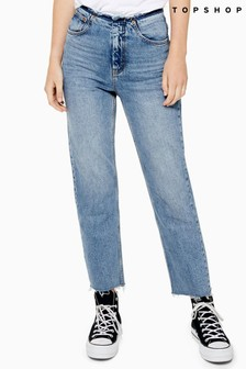 "Topshop Raw Waistband Straight Fit Jeans 32"" Leg"