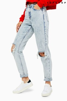 Topshop Regular Leg Double Rip Mom Jeans