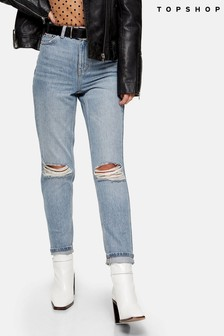 "Topshop Double Rip Mom Jeans 32"" Leg"