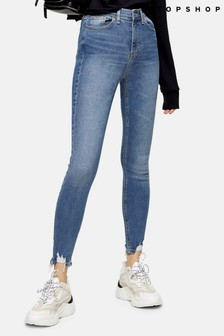 "Topshop Considered Jagged Hem Jamie Jeans With Recycled Cotton 30"" Leg"