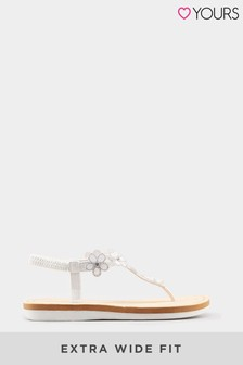 Yours Extra Wide Fit Optima Gem Flower Toe-Post Sandals