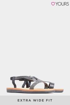 Yours Extra Wide Fit Curve Olivera Diamanté Loop Sandals