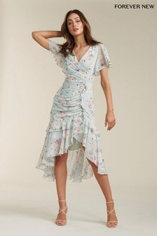 Forever New Ruched Wrap Midi Dress