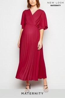 New Look Maternity Pleated V neck Midi Dress