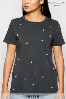 New Look Petite All Over Pearl T-Shirt