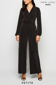 New Look Petite Glitter Lurex Long Sleeve Jumpsuit