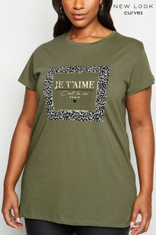 New Look Curve Je'Taime Slogan Animal Foil Longline T-Shirt