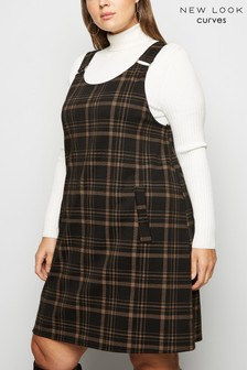 New Look Curve Check Pinafore Dress