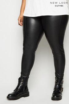 New Look Curve Coated Leather-Look Leggings