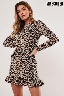 Missguided Leopard Print Frill Detail Shift Dress