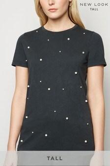 New Look Tall Faux Pearl Acid Wash T-Shirt