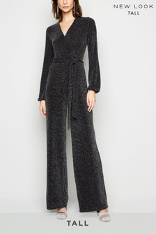 New Look Tall Glitter Wrap Long Sleeve Jumpsuit