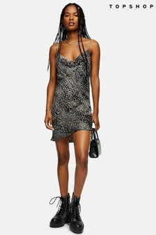 Topshop Alligator Ruched Slip Dress