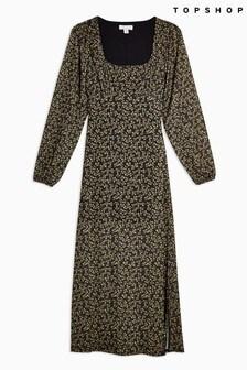 Topshop Floral Blouson Mesh Midi Dress