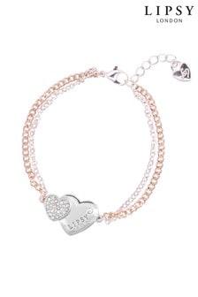 Lipsy Jewellery Two Tone Double Heart Bracelet - Gift Boxed