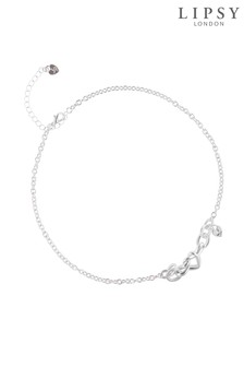 Lipsy Silver Plated Heart Knot Link Necklace