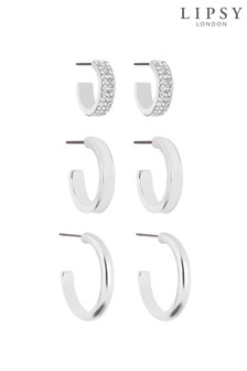 Lipsy Plated Polished Pave & Hoop Earings - Pack Of 3