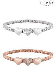 Lipsy Two Tone Heart Mesh Stretch Bracelets - Pack of 2 Gift Boxed