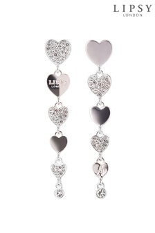 Lipsy Jewellery Mix-Match Crystal Pave Heart Drop Earrings