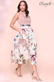 Closet Pleated Floral Midi Dress