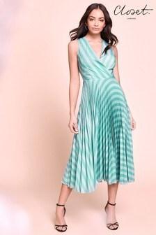 Платье Closet с запахом и плиссировкой