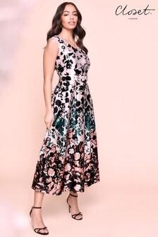 Closet Printed Full Skirt Midi Dress