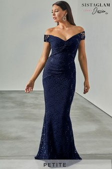 Sistaglam Loves Jessica Petite All Over Lace Bardot Maxi Dress