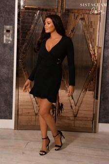 Sistaglam Loves Jessica Frill Hem Wrap Mini Dress