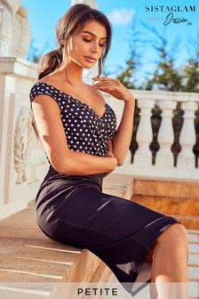 Sistaglam Loves Jessica Petite 2 In 1 Polka Dot Pencil Dress