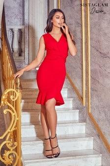 Sistaglam Loves Jessica Frill Hem Wrap Midi Dress