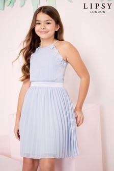 Lipsy Girl Occasion Pleated Halter Dress