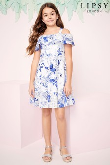 Lipsy Girl Broderie Printed Bardot Dress