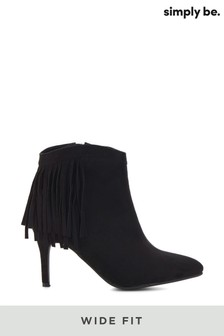 Simply Be Wide Fit Fringed Ankle Boot