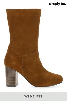 Simply Be Wide Fit Suede Slouch Block Heels Calf Boots