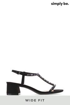 Simply Be Wide Fit T-Bar Diamante Low Block Heel Sandal