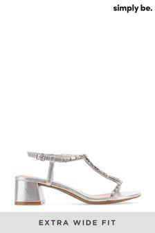 Simply Be Extra Wide Fit T-Bar Diamante Low Block Heel Sandal