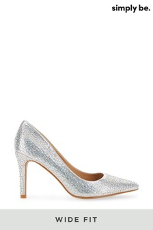 Simply Be Wide Fit Glitzy Court Shoe